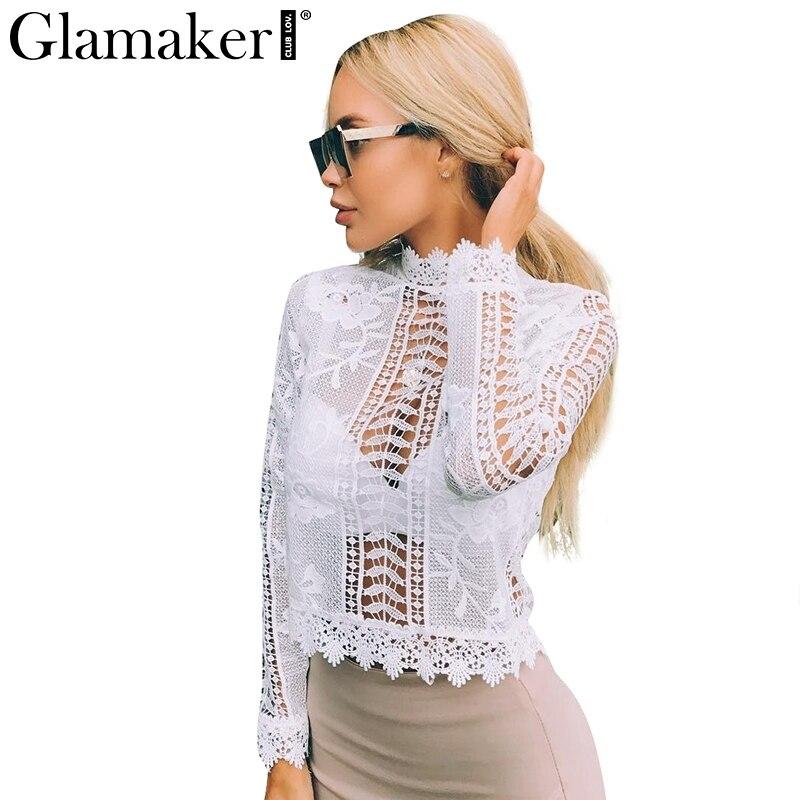 Glamaker sexy de encaje blanco camisa de la blusa Mujeres tops elegante ahueca h
