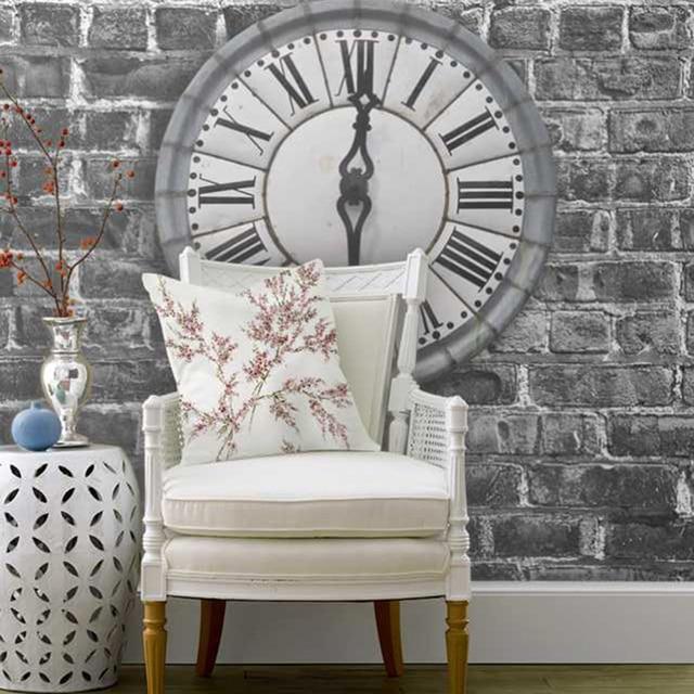 Charmant Römischen Uhr Dunkelgrau Ziegel Wohnzimmer Hintergrund 3D Wallpaper  Wandbild Photowall 3d Papel De Pared PW17200311013