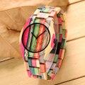 De Madera De colores Reloj de Señoras de Los Relojes de Lujo de Bambú de la Manera Simple Estilo de Las Mujeres Ocasionales Al Aire Libre Reloj de Pulsera de Mujer de Cuarzo Relojes