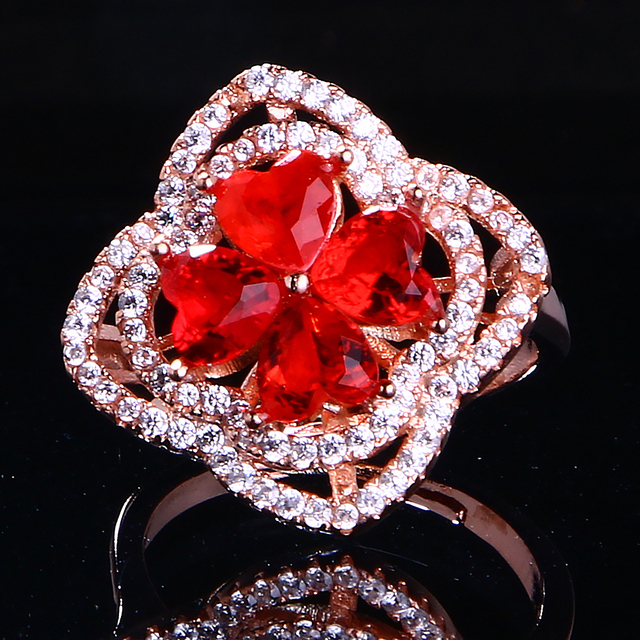 Red crystal 925 silver ring fashion luxury style lady heart gift engagement ball gift package