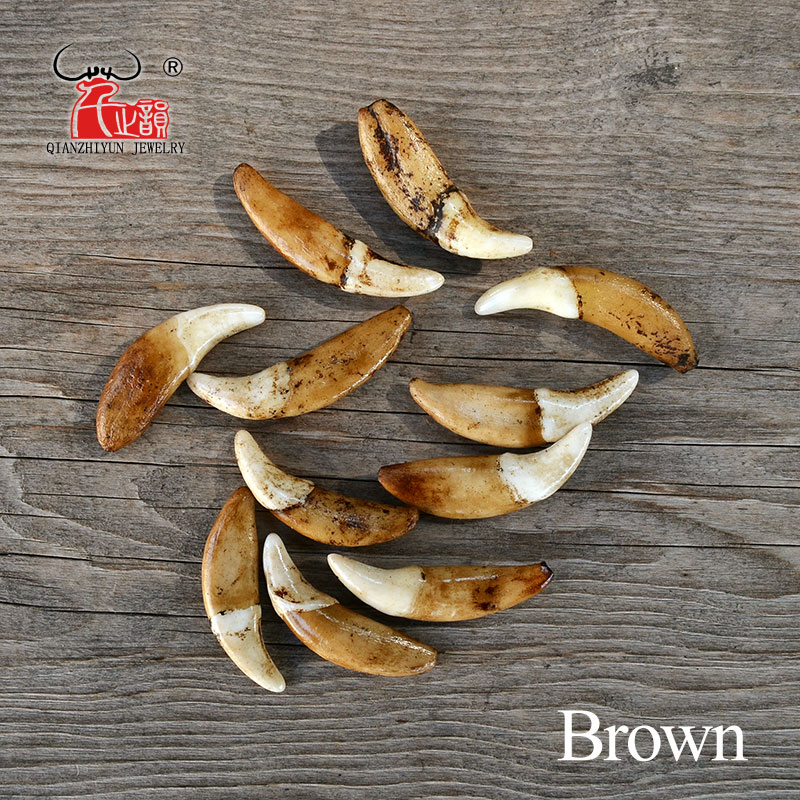 2361c11cab8a Blanco/crudo/marrón diente de perro cuentas de hueso Natural ...
