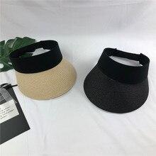 Новинка, простая летняя Соломенная женская шляпа от солнца с жемчугом, солнцезащитный козырек с большими головами и широкими полями, женская кепка с защитой от ультрафиолета
