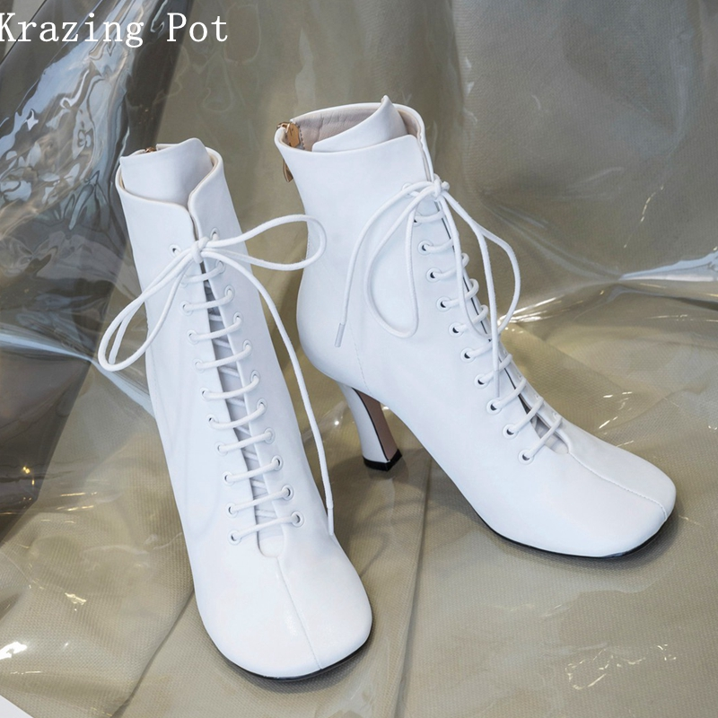 Krazing pot winter brand shoes lace up boots round toe genuine leather runway cross-tied mature strange style ankle boots L21