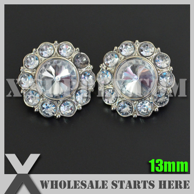 Free Shipping 13mm Round Plastic Acrylic Diamond Button for Clothing,Flower Center/Silver Base with Crystal Rhinestone/Wholesale