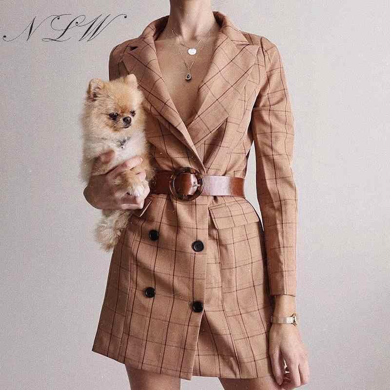 NLW клетчатый блейзер цвета хаки, куртка 2019, осенне-зимний модный блейзер с карманами и пуговицами, платье, уличная одежда с длинным рукавом, OL Блейзер, верхняя одежда