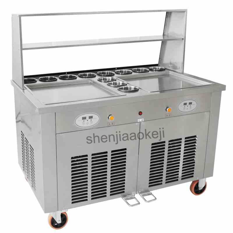 Commercial Fried Ice Cream Machine Fried Yogurt Machine Double Pots Making Roll Ice Cream Ice Frying Machine 220v 2800w 1pc