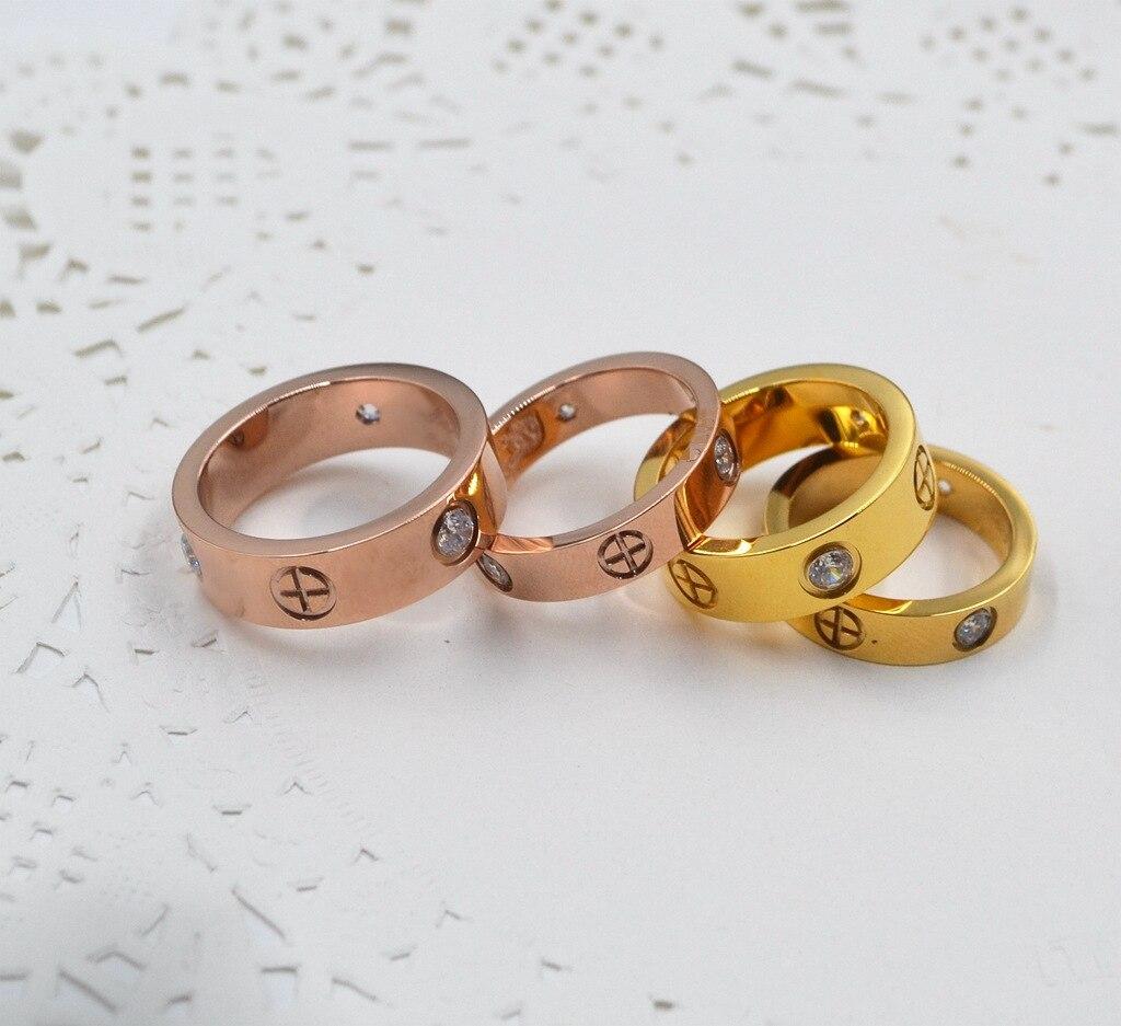 TYME En Acier Inoxydable new Love couple anneau argent wedd anneau largeur titane anneau pour les amoureux avec pierre anneau et rose bijoux en or