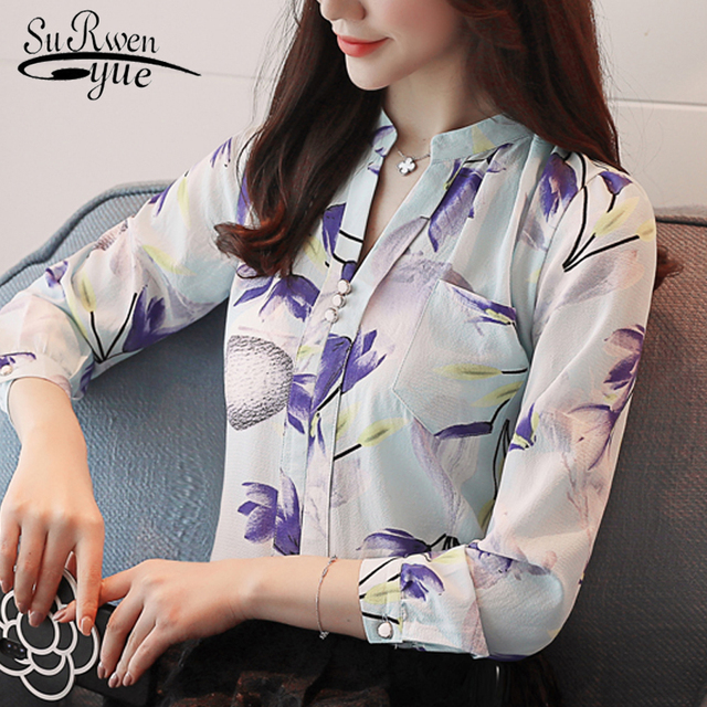 long sleeve print chiffon women blouse shirt Fashion women blouses 2018 blusas feminine blouses OL blouse women tops Z0001 40