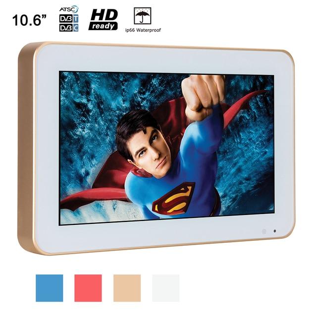 Souria 10.6 inch HD Xách Tay Tắm Phòng Tắm Không Thấm Nước LED TV với Vàng Khung Tùy Chỉnh