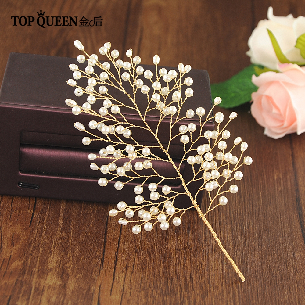 TOPQUEEN HP56 Wedding Accessories Bridal Headpieces With Pearls Golden Color Bride Hair Jewelry Fast Shipping In Stock