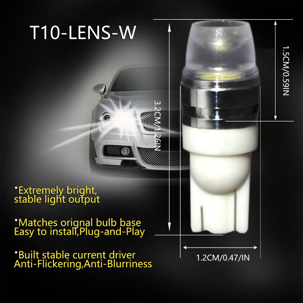 Image 2 - 2 x T10 LED Concave Lens Interior Light Bulbs COB Width Wedge Side Lamps 6000K LED Light Bulbs For Cars Reading Panel Lights-in Signal Lamp from Automobiles & Motorcycles