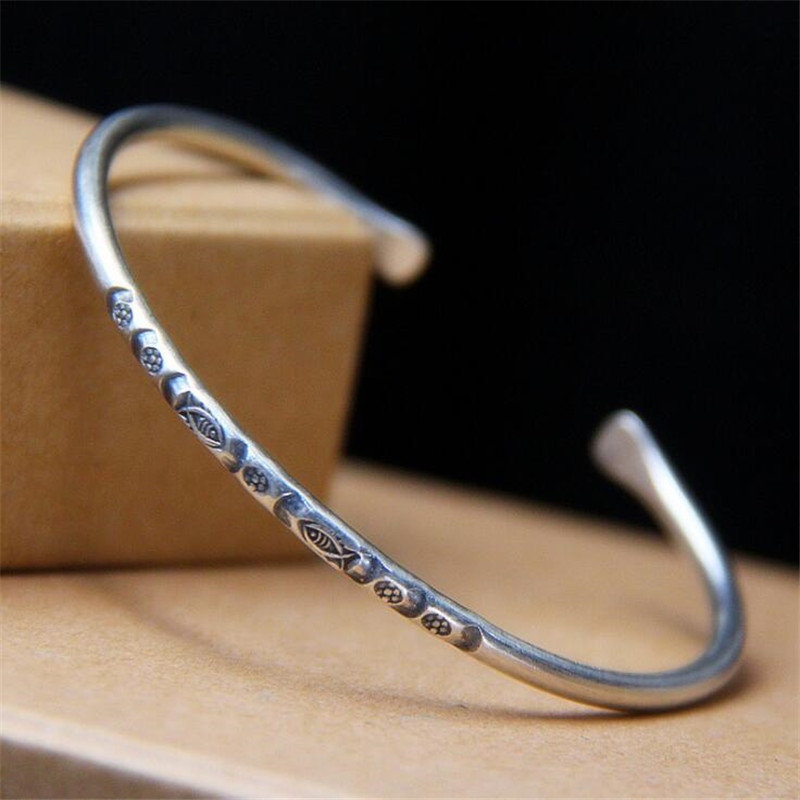 2018 Vintage Fashion 925 Sterling Silver Jewelry Handmade Fish Carved Thai Silver Cuff Bracelets & Bangles Women Men v ya vintage thai silver men bracelets bangles 925 sterling silver mens bracelet bangle cuff fine jewelry