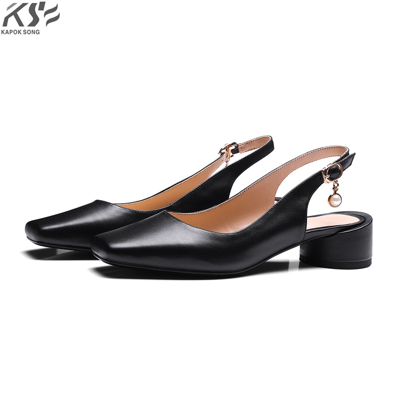 square toe genuine really leather women pumpus shoes cow leather summer high heel sandals luxury designer