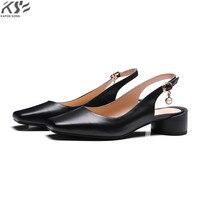Realmente couro do dedo do pé quadrado mulheres pumpus sapatos vaca sapatos de couro de verão sandálias de salto alto designer de luxo confortável