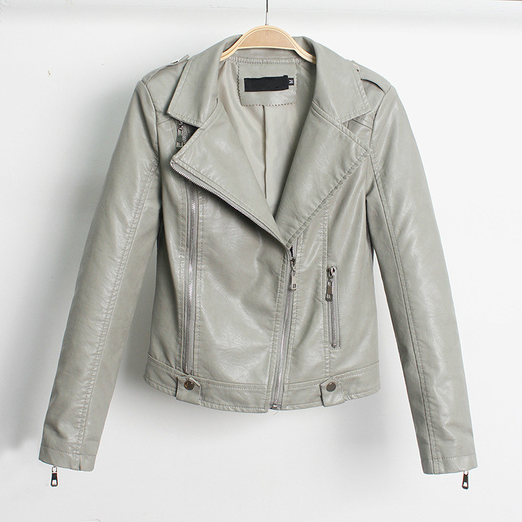 Spring Girls Lapel Short Motorcycle Coats Beige Grey Biker Jacket with Zipper Korean Casual Faux   Leather   PU Jacket Moto Women