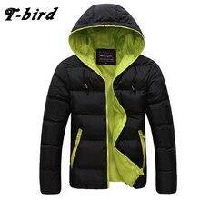 T-bird Clothing Men Winter Casual New Hooded Thick Padded Jacket Zipper Slim Men And Women Coats Men Parka Outwear Warm 3XL