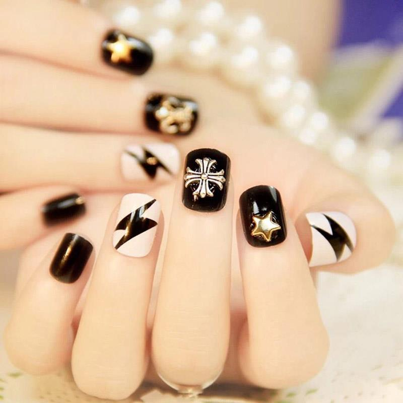 Hot Sell 50x Fan shaped Natural False Nail Art Black Tips Sticks ...