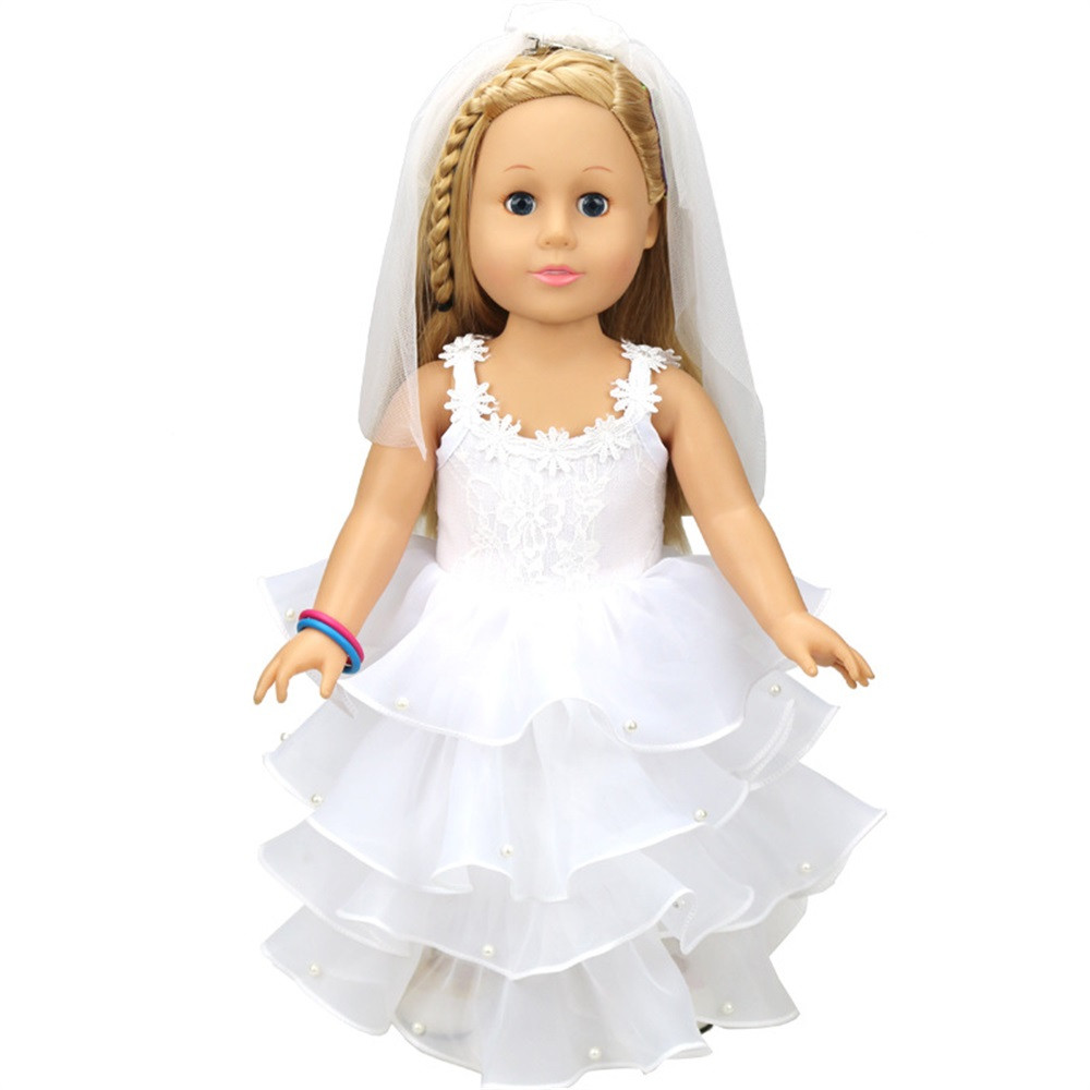 Baby Born Cool Fashion Wedding Doll White Communion Dress For 18 inch Our Generation American Girl Doll Clothes Toy american girl doll clothes halloween witch dress cosplay costume for 16 18 inches doll alexander dress doll accessories x 68