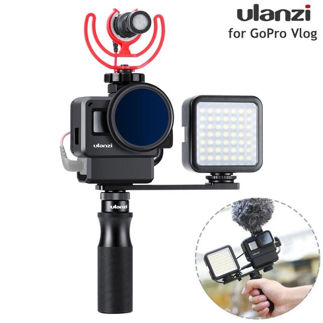 ULANZI V2 Pro GoPro vlog boîtier boîtier Cage cadre w Microphone froid chaussure support + 52mm ND filtre anneau adaptateur pour GoPro 7/6/5