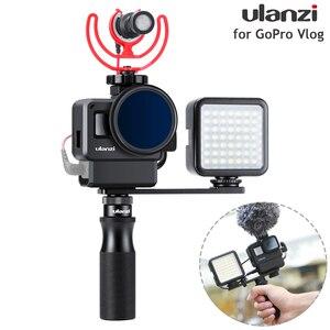 Image 1 - Ulanzi v2 pro gopro vlogging 케이스 하우징 케이지 프레임 w 마이크 콜드 슈 브래킷 + gopro 7/6/5 용 52mm nd 필터 링 어댑터