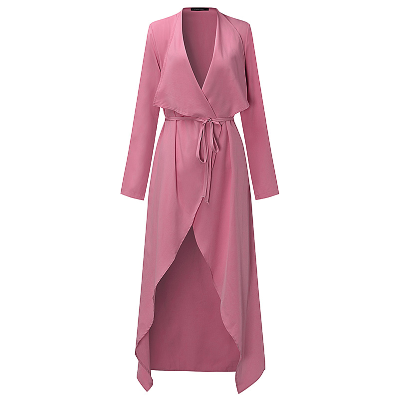 Plus Size S-3XL Women Ladies Casual Long Sleeve Slim Fit Thin Waterfall Long Belted Cardigan Duster Coat Jacket Overalls Outwear 1