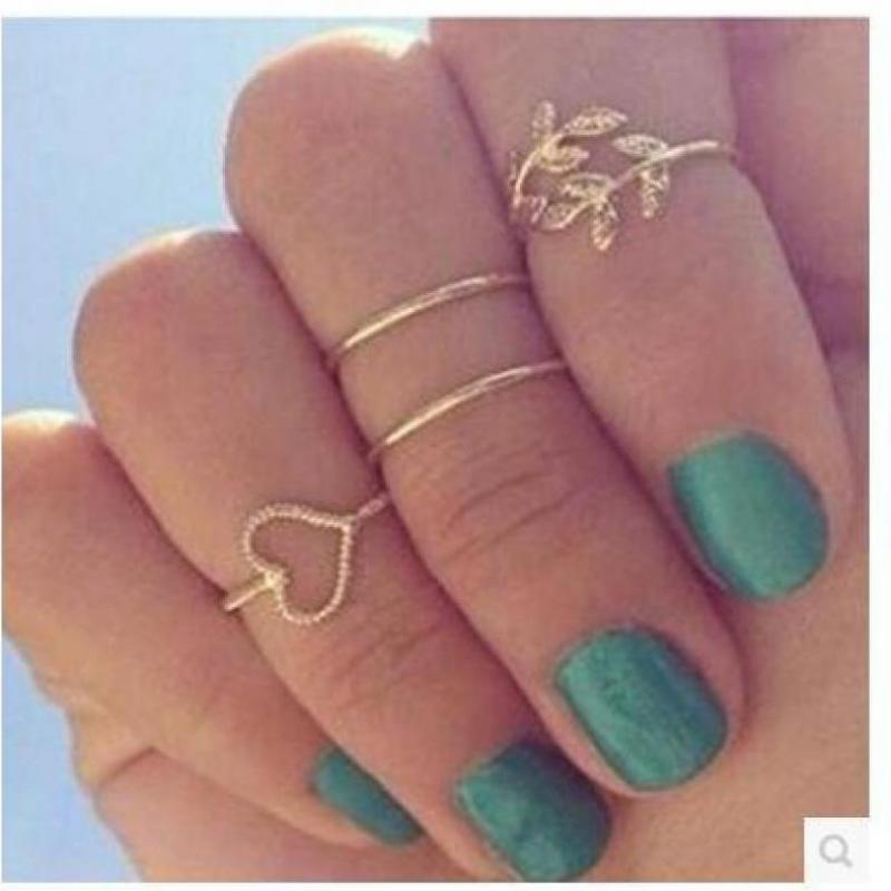New Style Small leaves four Ring Love Circle Beautiful Classic Rings Women wholesale 4 PCS /lot Bijoux Femme Jewellery