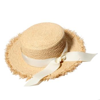 Summer Sun Hats For Women Natural Raffia Straw Hat Ladies Elegant Bow-Knot Beach Caps