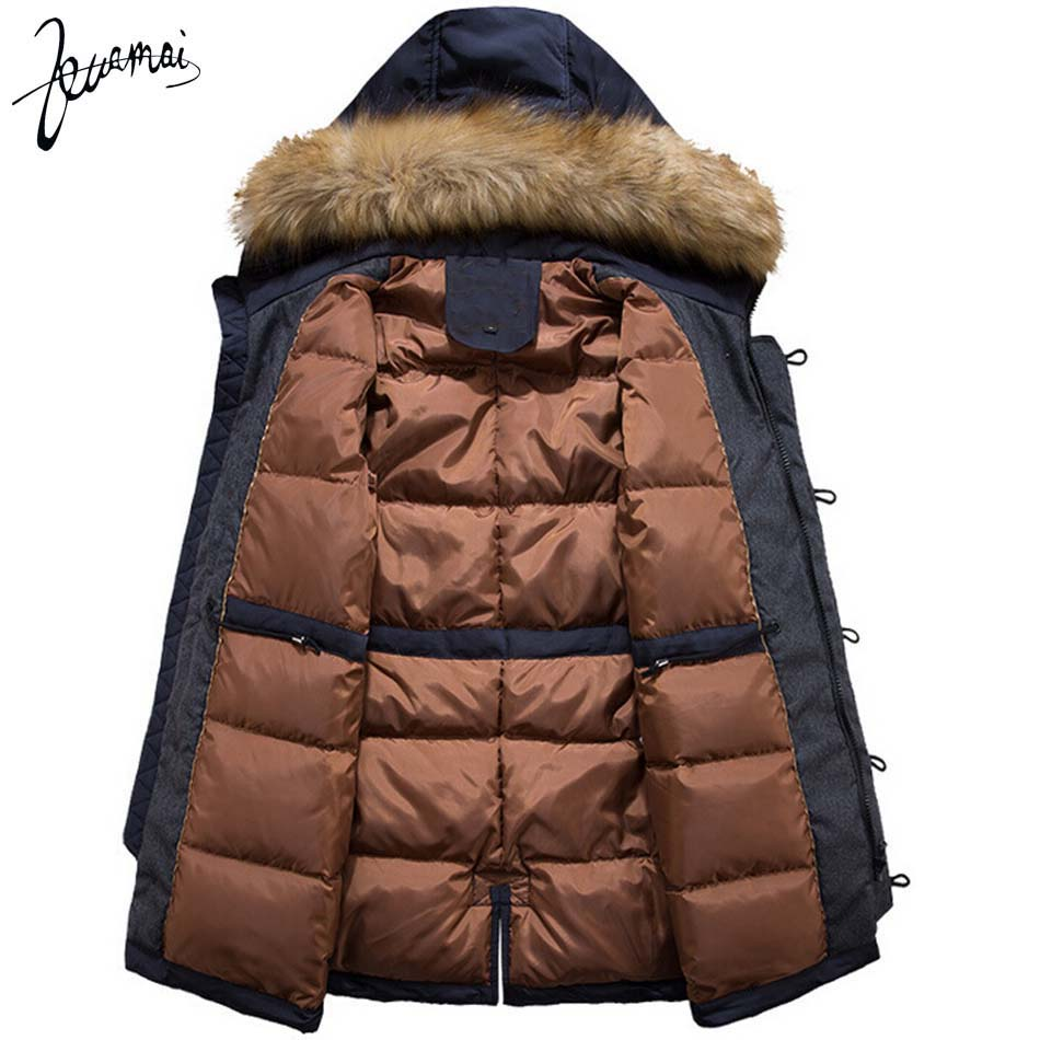 kuamai 2016 зима новый мужчины вниз пальто бренд одежды с меховой воротник случайные капюшоном толстый теплый утка пуховик мужчин анти-снег