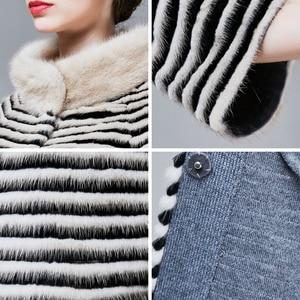 Image 5 - ZIRUNKING abrigo de piel auténtica de visón clásico para mujer, Parka larga de punto Natural a rayas, Otoño, cálido y delgado, ropa de moda, ZC1706