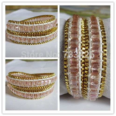 Hot Sold Handmade Wrap Bracelet With White Leather Faceted Light Red Stone And Golden Chain Weaved For Women In Bracelets From Jewelry