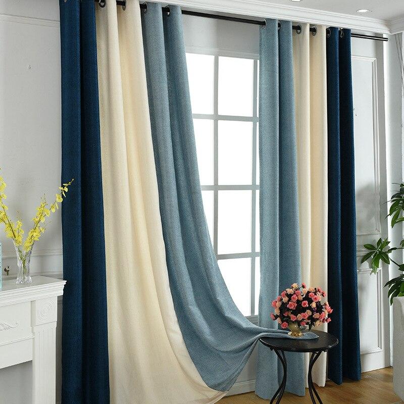 Rideaux de Chenille de rayure d'ombre complète chambre salon balcon épaississement, rideaux pour salon salle à manger chambre