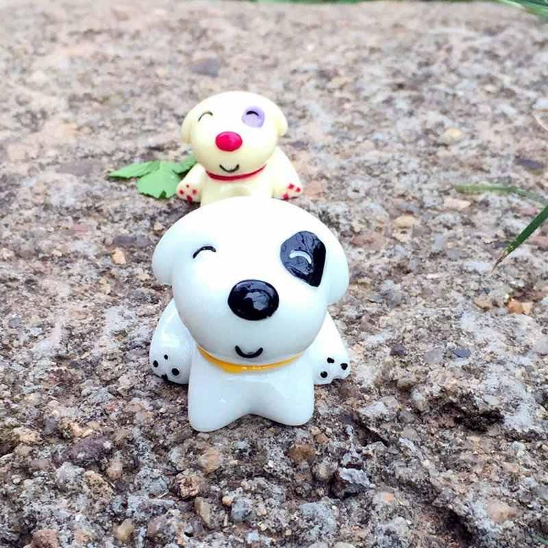 Puppy Mini Animal Ornaments Sitting Dog Toy Miniature Figurine Fairy Garden Animal Statue Resin Craft Home Car Ornament Gift