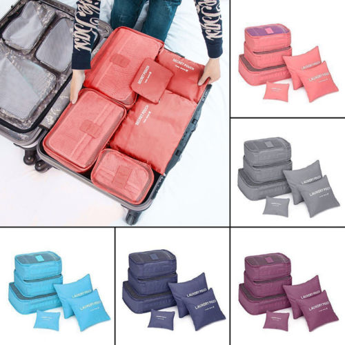 6pcs/set Waterproof Travel Clothes Storage Bags Luggage Organizer Pouch Packing Cube Storage Bags gray Blue Wine red Rose Blue