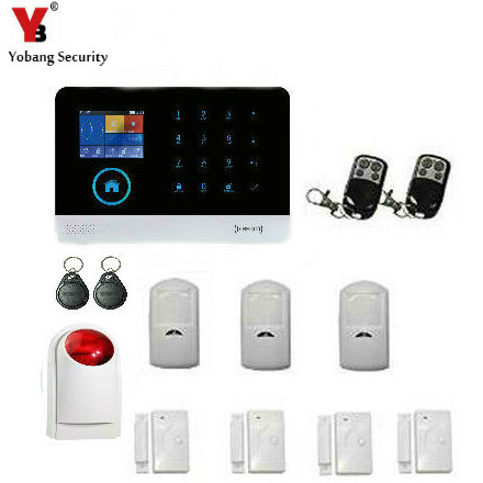 YobangSecurity WIFI GSM Wireless RFID Home Security Alarm System DIY Kit with Auto Dial Wireless Siren Android IOS APP Control yobangsecurity touch keypad wifi gsm gprs rfid alarm home burglar security alarm system android ios app control wireless siren