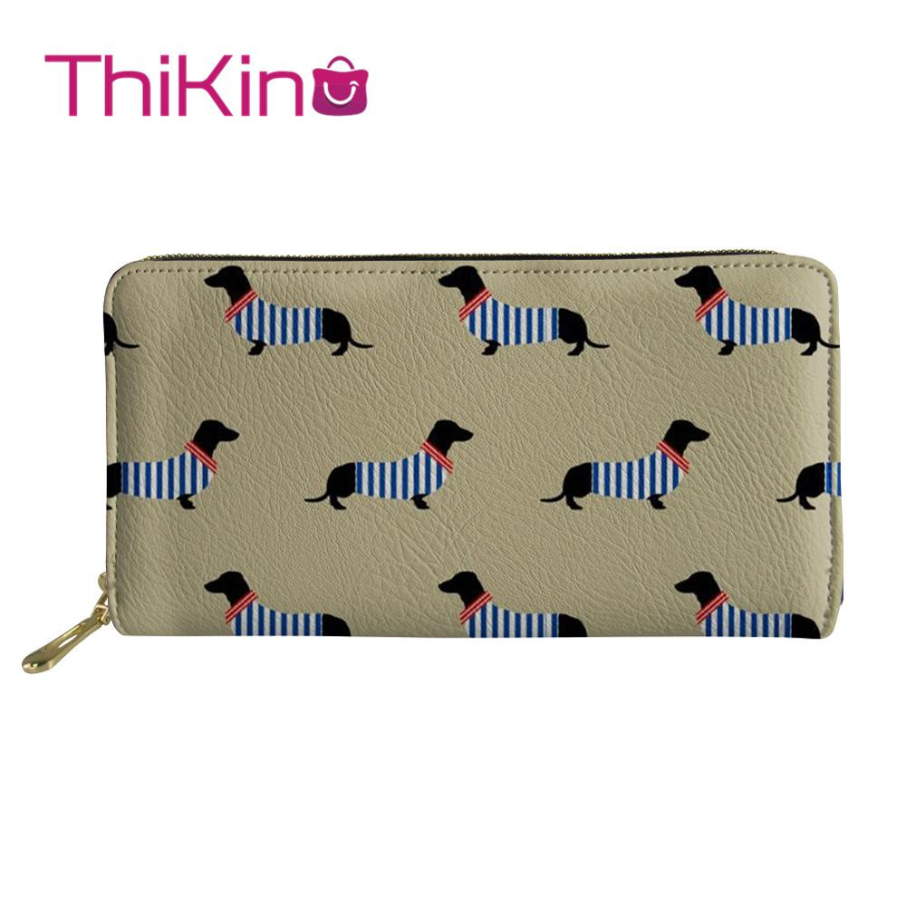 Thikin Dachshund Pattern Long Wallets Zipper Phone Bag Card Holder for Pink Girls Clutch Purse Carteira Handbags Notecase 2019 in Wallets from Luggage Bags