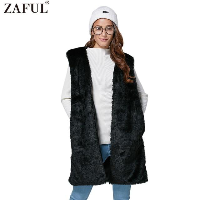 2017 nuevas llegadas moda Otoño Invierno mujeres negro chaleco Chic  Collarless imitación grueso piel caliente abierto 74bce8721d8c