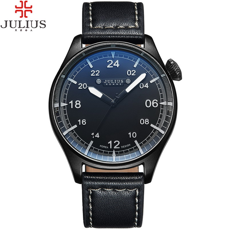JULIUS Top Brand Luxury Men Watch Leather Business Quartz Wristwatch Sport Military Male Boys Watches Relogio Masculino Montre 2017 mens watches top brand luxury julius boy male business waterproof wristwatch date quartz watch men relogio montre homme