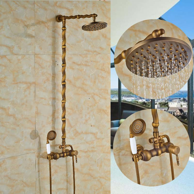 Antique Brass Round Rain Shower Head Faucet Hot Cold Mixer Valve Hand Shower Sprayer 8 Shower Wall Mounted