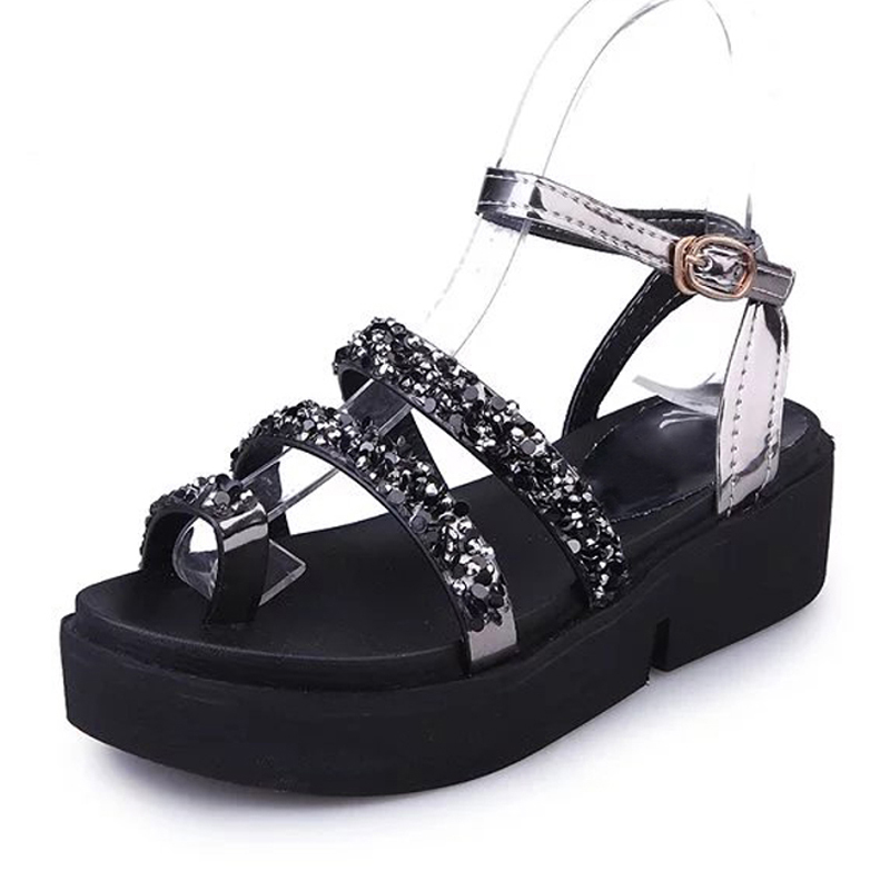 LANSHULAN Glitters Gladiator Sandals Platform Shoes Woman Casual Buckle Flats Beach Women Shoes Silver Creepers Summer phyanic gold silver wedges sandals 2017 new platform casual shoes woman summer buckle creepers bling flats shoes phy4040