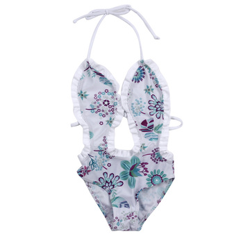 New One Pieces Swimsuit Summer Baby Girl Bikini One Pieces Floral Printed Ruffled Swimwear Bathing Suit Beachwear for 1-6Y Girls Купальник