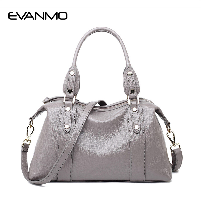 First Layer of Leather Handbags High Quality Fashion Trend Boston Shoulder Messenger Bags Genuine Leather Handbag Soft Bag Bolsa bag female new genuine leather handbags first layer of leather shoulder bag korean zipper small square bag mobile messenger bags