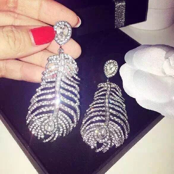 haute couture france designer brand accessories exaggerated full rhinestones large feather drop earring brincos for women