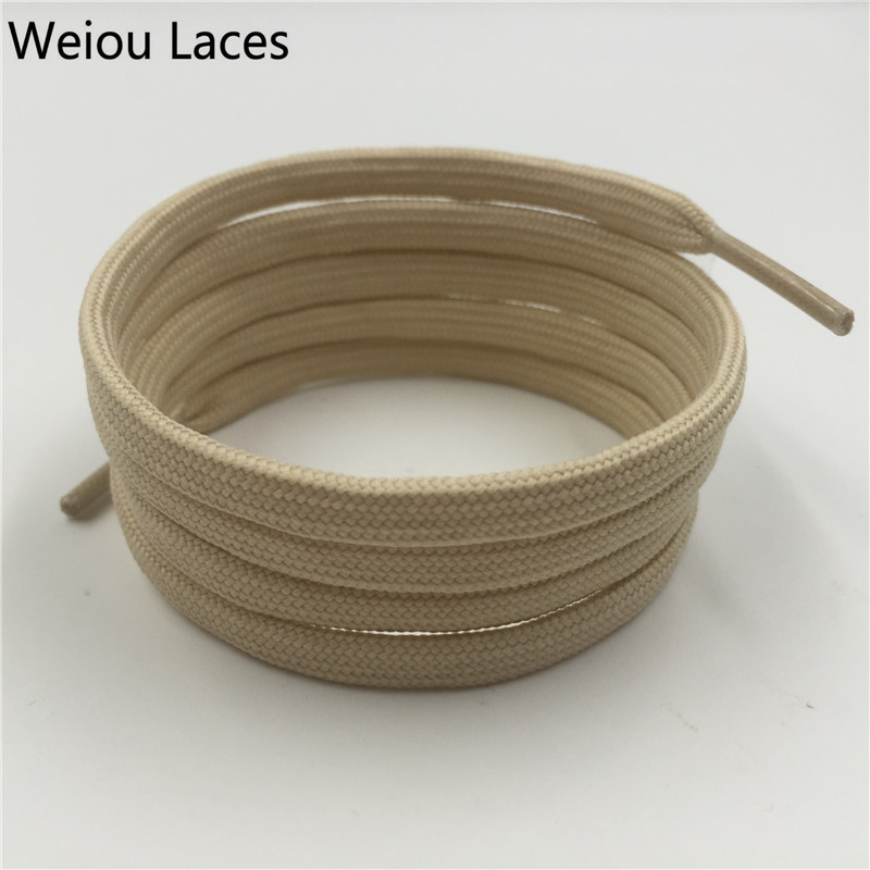 Offical Weiou 7mm Flat Round Apricot Tubular Lace Hiking Shoelace Ribbon Replacement Shoe Laces Polyester Bootlace Kith Style pz0 5 16 0 5 16mm2 crimping tool bootlace ferrule crimper and 1k 12 awg en4012 bare bootlace wire ferrules