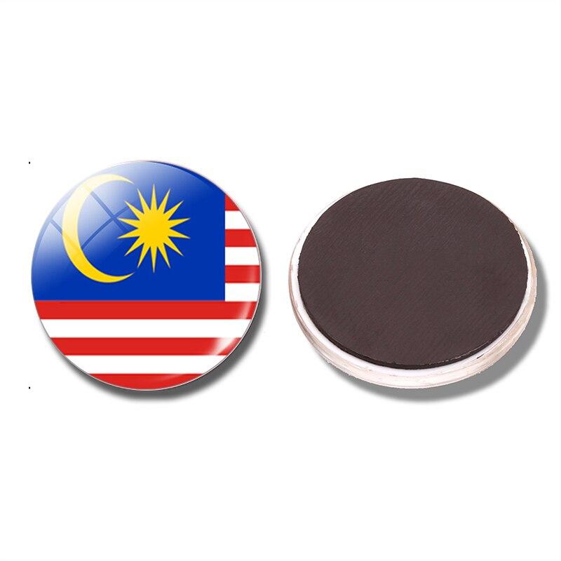 Flag Of Malaysia Fridge Magnet 30mm Glass Refrigerator Magnetic