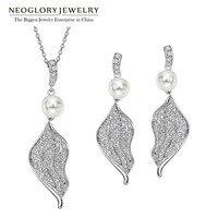 Neoglory AAA Zirkoon Wit Blad Fashion Kettingen Oorbellen Zilveren Naald Indian Sieraden Sets Party Charm 2017 Nieuwe Kerstcadeaus