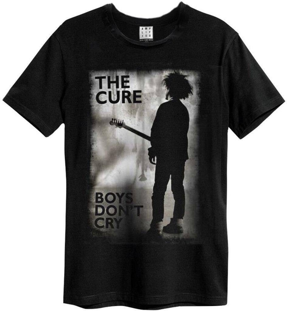 A cura boys meninos não crycry( preto) t camisa amplificada roupas novas & oficiais camisas masculinas manga curta o pescoço algodão cores