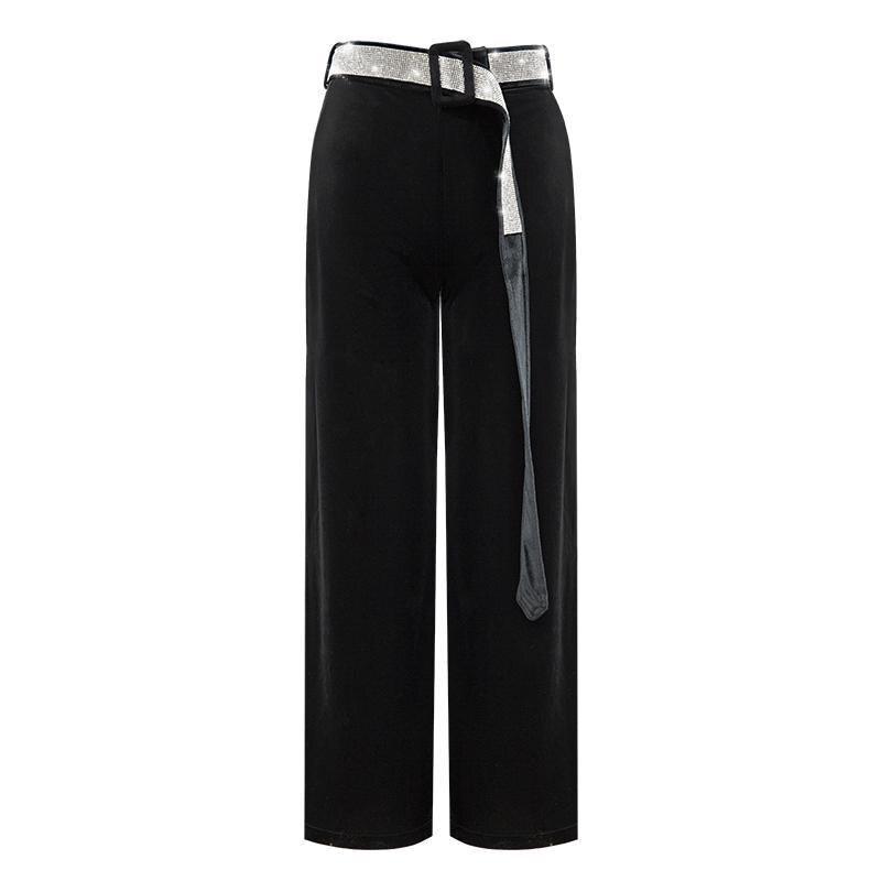Cintura zoux Moda Las Terciopelo Nueva Sexy Pantalón Z Mujer Pantalones Largos Ancha De Pierna Alta Mujeres 2018 Black Casual HXZdFwdq