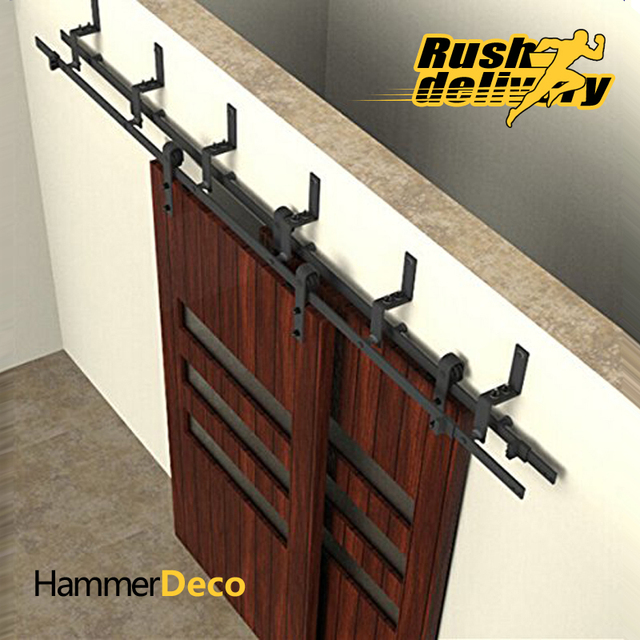 3050mm To 4880mm Sliding Barn Door Track Top Black Sliding Barn Door  Hardware Kits American Interior