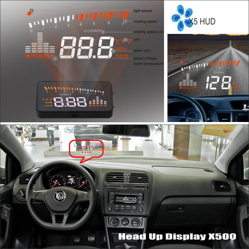 Car HUD Safe Drive Display For Volkswagen VW Polo Sedan Refkecting Windshield Head Up Display Screen Projector