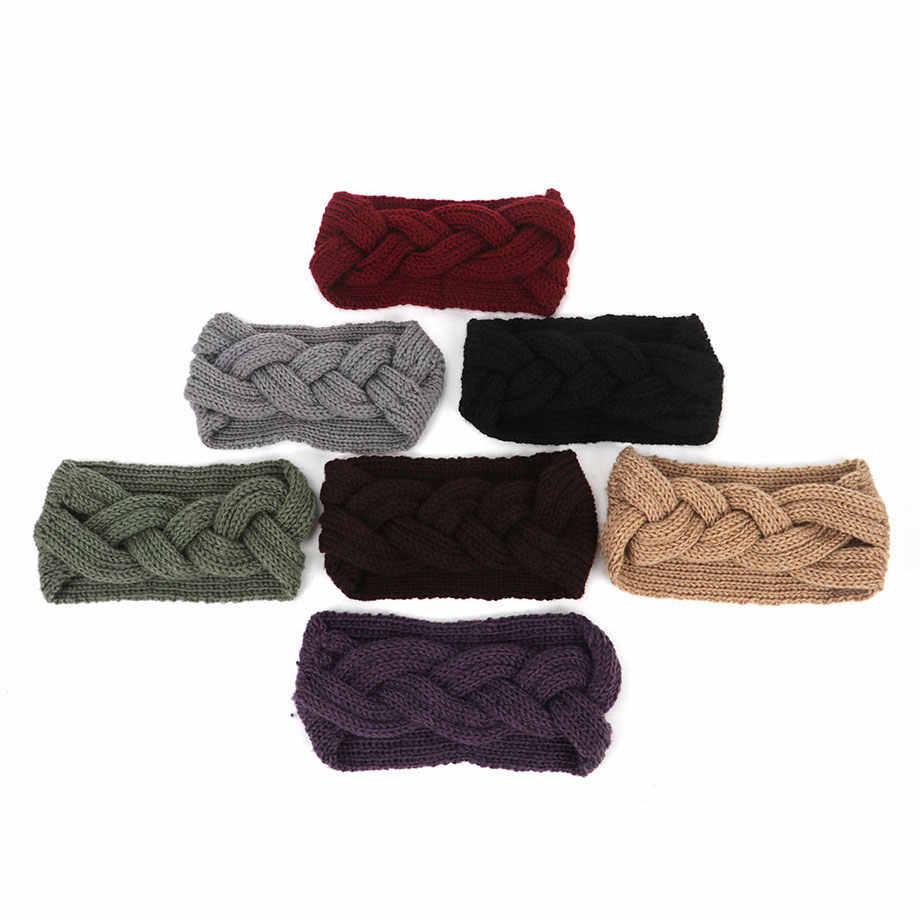 Женская однотонная повязка на голову с перекрестным узлом, вязаная шерстяная повязка на голову для девушек, теплая шерстяная Тюрбан ручной работы, широкая повязка на голову, аксессуары для волос